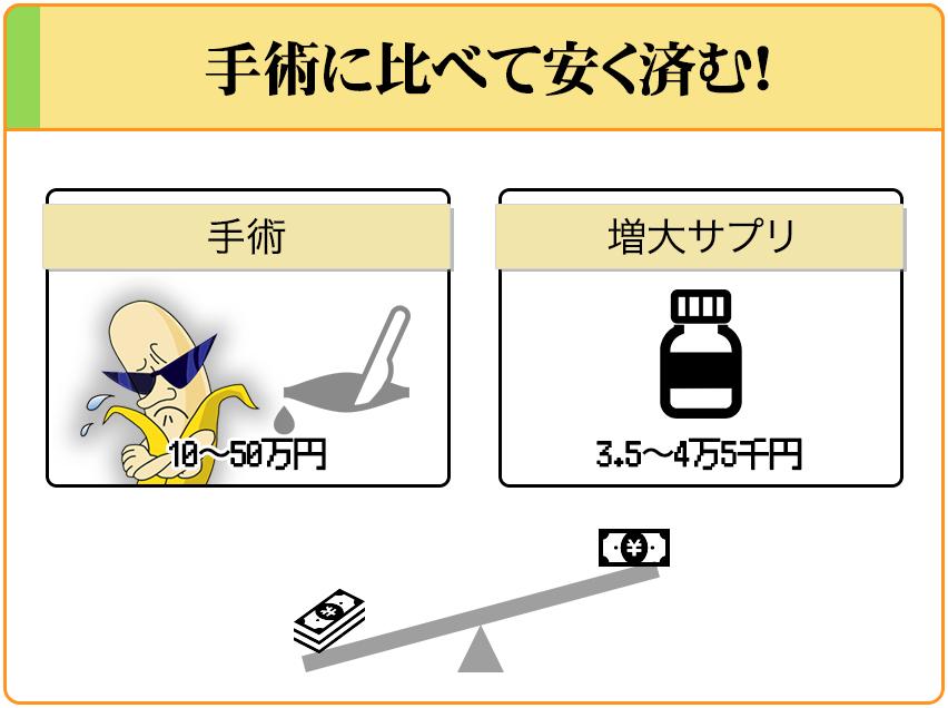 手術だと10~50万ほど掛かってしまうが、増大サプリだと5万円以下でペニスの増大が可能。