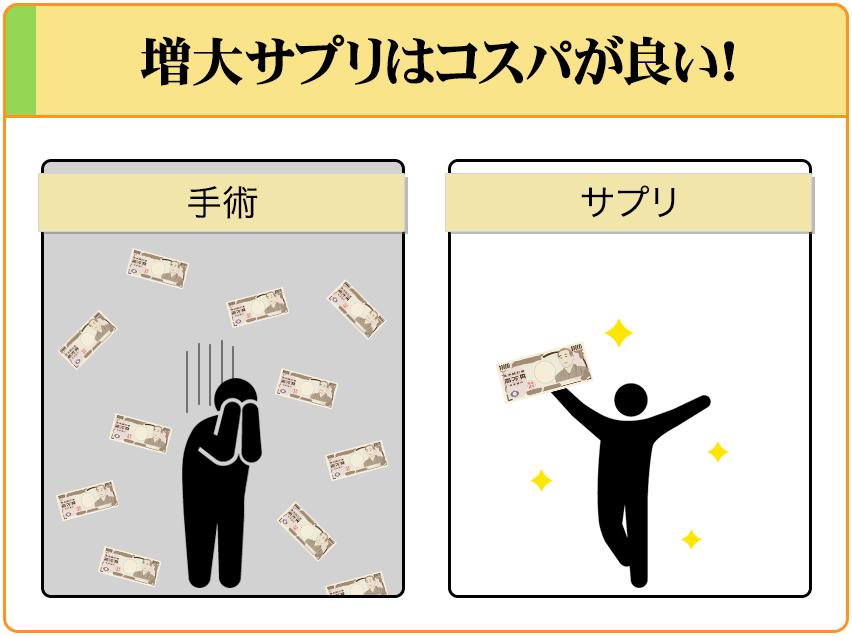 増大サプリは月々1万円前後しか掛からないので、コスパが良い。