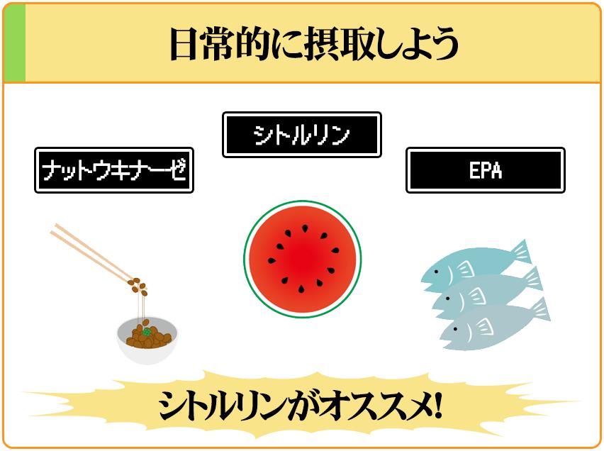 血流を良くする成分には「ナットウキナーゼ」「シトルリン」「EPA」があり、シトルリンが1番オススメ。