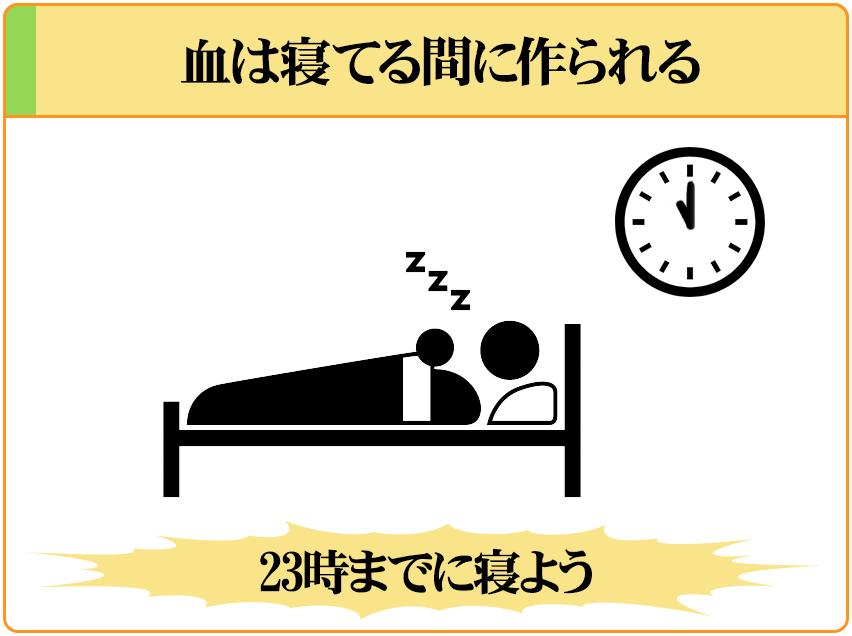 血は寝ている間に作られるので、23時までに寝るようにしよう。