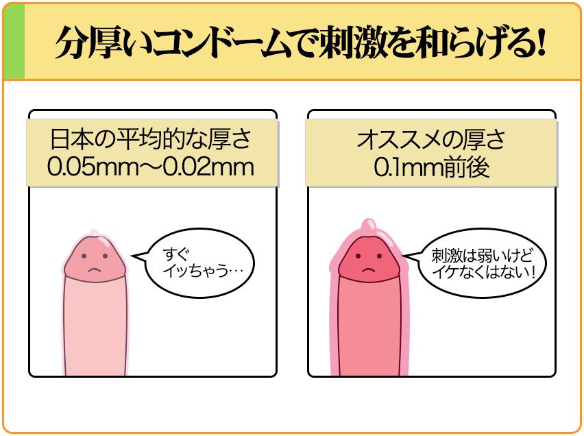 分厚いコンドームを使用することで過敏性早漏を改善する